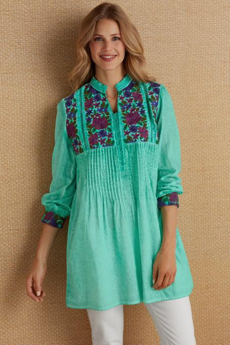 Gauze Embroidered Tunic
