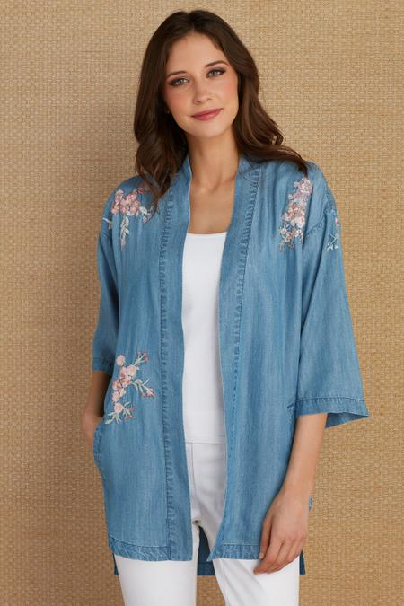 Embroidered Tencel® Cardi