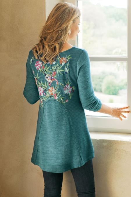 Petites Embroidered Thermal Swing Sweatshirt
