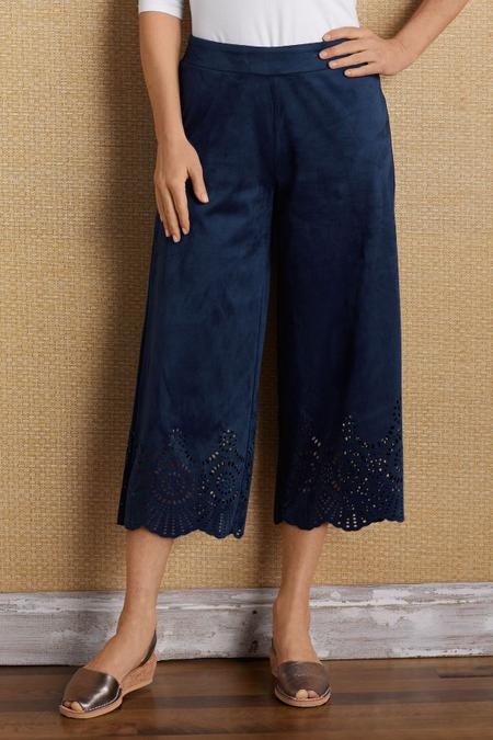 Faux Suede Eyelet Culottes