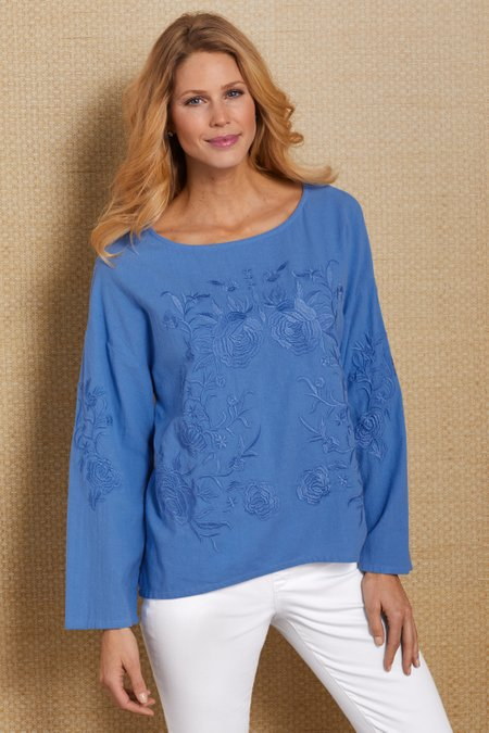 Petites Embroidered Roses Gauze Top