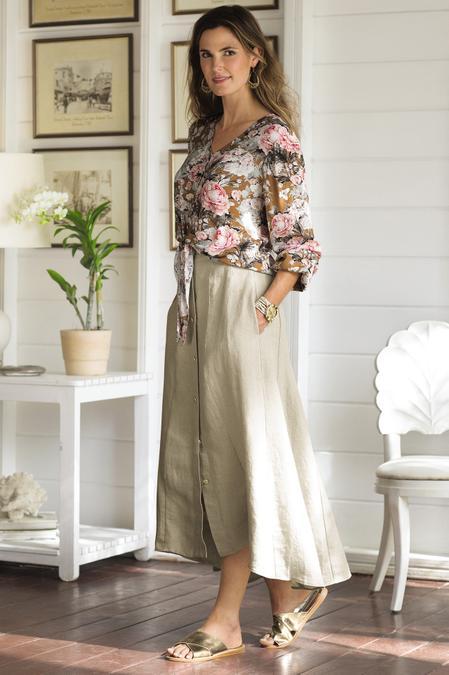 Petites Neapolitan Linen Skirt
