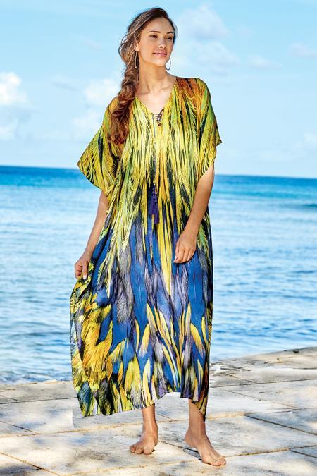 Women Blue Quetzal Caftan