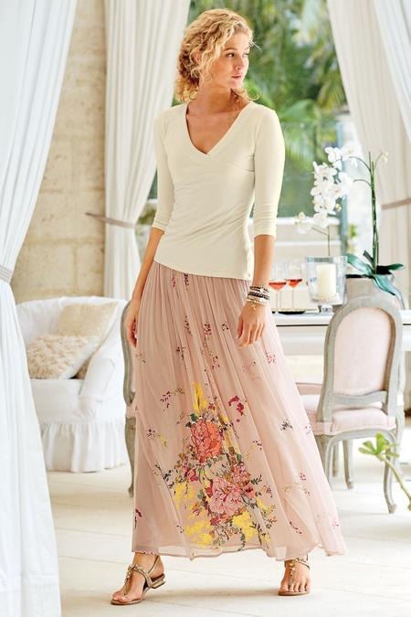 Petites Summer Blooms Skirt