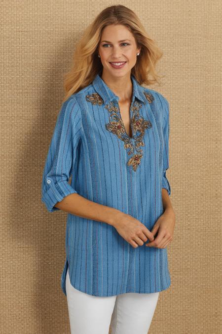 Embellished Stripe Pullover