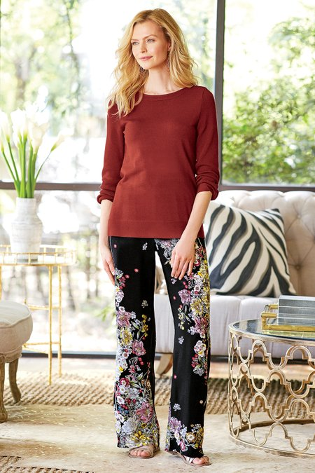 Petites Twilight Blooms Pants