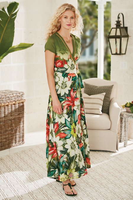 Women Palm Coast Wrap Maxi Dress
