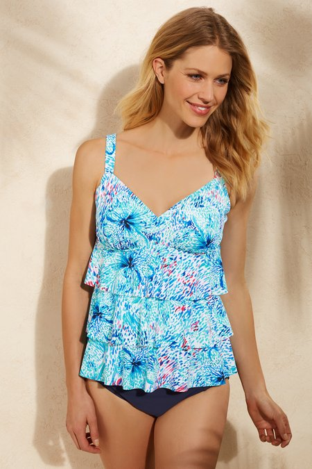 Shape Solver Floral Reef Tankini Top