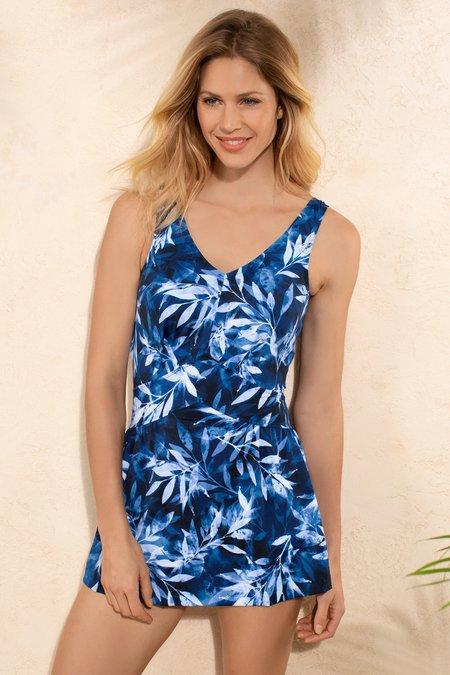Palm Print Swimdress