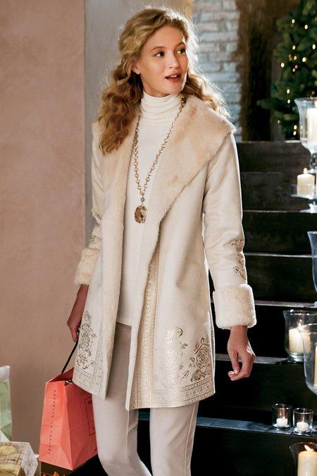 Petites Anastasia Faux Shearling Coat
