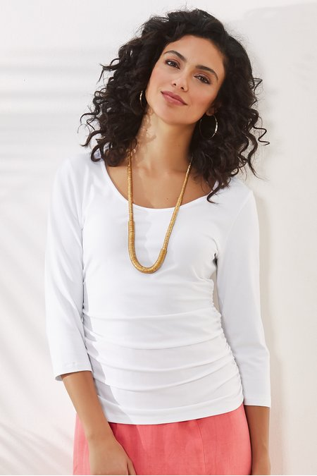 Ruched 3/4 Sleeve Top