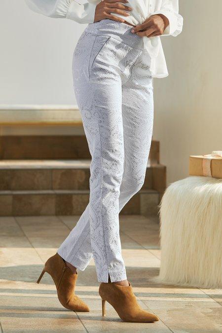 Paisley Jacquard Skinny Ankle Pants