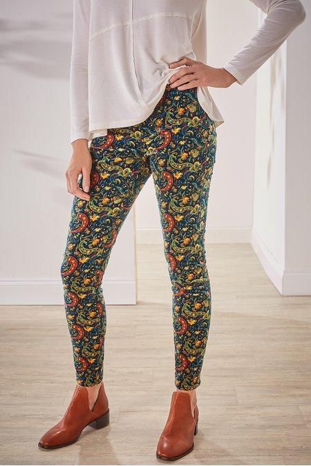 Corduroy Printed High-Rise Skinny Pants
