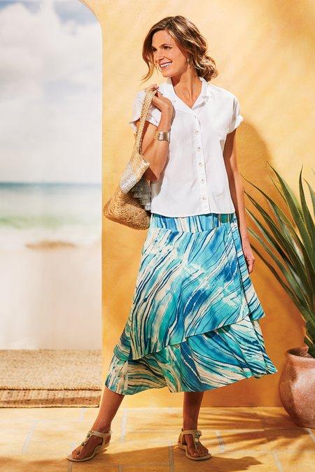 Artist Stripes Asymmetrical Skirt