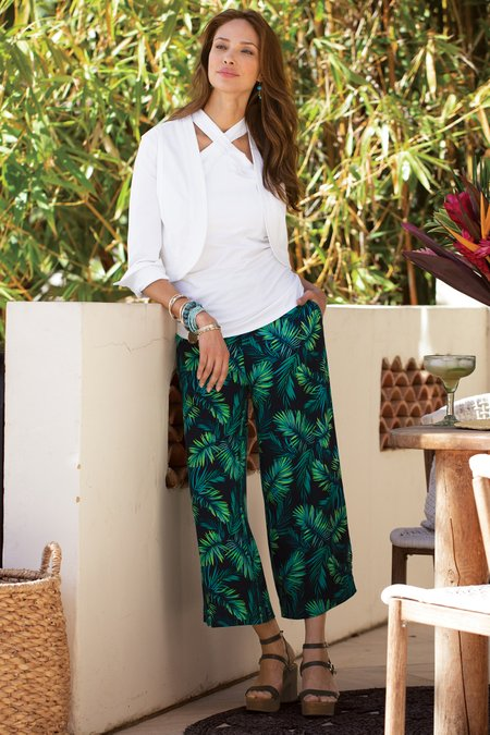 Sidnei Palm Wide Leg Crop Pants