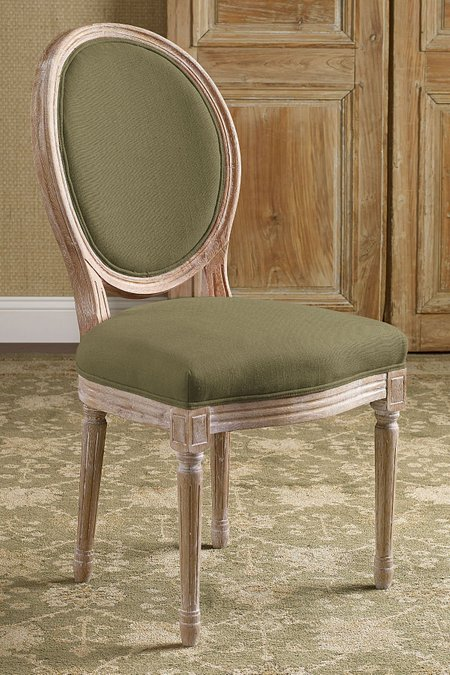 Oval Back Bergere Side Chair Vanity Upholstered Dining Vintage Desk Soft Surroundings Outlet