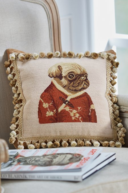 Imperial Pug Needlepoint Pillow