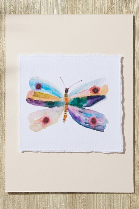Watercolor Butterfly Deckle-Edge Print
