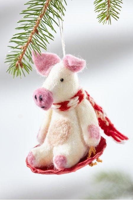 Sledding Piggles the Pig Ornament
