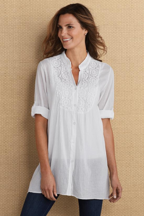 f742fbe439b Loiret Tunic - White Cotton Tunic | Soft Surroundings