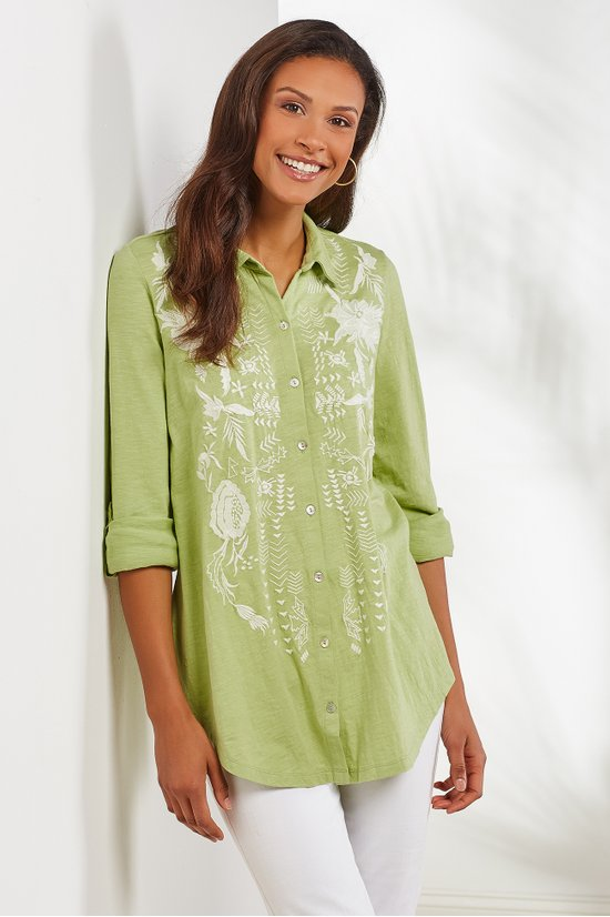 8701dfbaa5 Madie Tunic - Embroidered Jersey Knit Tunic