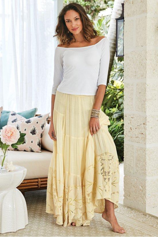 621d0bcf2f Ambrosia Maxi Skirt - Gauze Tiered Maxi Skirt | Soft Surroundings