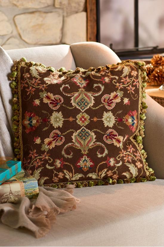 Jardin D'Automne Needlepoint Pillow   Tuggl